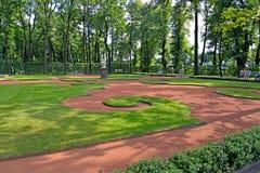 ST 彼得斯堡俄国 装饰草坪在夏天庭院里 免版税库存图片