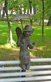 ST 彼得斯堡俄国 雕塑圣彼德堡天使在Izmaylovsky庭院里 免版税库存照片