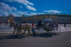 ST 彼得斯堡,俄罗斯, 2018年5月02日:室外观点的在冬天宫殿背景的支架马有一些的 免版税库存照片