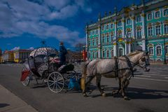 ST 彼得斯堡,俄罗斯, 2018年5月01日:沙皇在冬宫地标游人前面的马支架室外看法  图库摄影