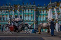 ST 彼得斯堡,俄罗斯, 2018年5月01日:沙皇在冬宫地标游人前面的马支架室外看法  库存照片