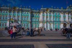 ST 彼得斯堡,俄罗斯, 2018年5月01日:沙皇在冬宫地标游人前面的马支架室外看法  免版税图库摄影