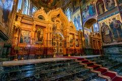 ST 彼得斯堡,俄罗斯- 2015年6月19日:救主的教会血液内部的 免版税库存图片