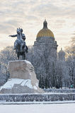 ST 彼得斯堡,俄罗斯- 2016年1月09日:对彼得的纪念碑 免版税库存照片