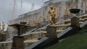 ST 彼得斯堡,俄罗斯- 9月15,2016 :盛大小瀑布喷泉和盛大宫殿 股票视频