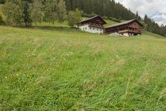 ST 马格达莱纳,意大利- 2015年9月14日:绿色牧场地围拢的一多云mornig的传统房子 免版税图库摄影