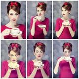 照片拼贴画-有咖啡杯的红头发人女孩。 St.情人节 免版税库存图片
