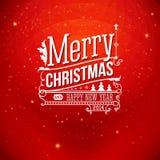 Поздравительная открытка рождества. С Рождеством Христовым литерность в st года сбора винограда Стоковая Фотография RF