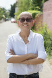 亚裔妇女的美好和幸福情感画象st的 免版税库存图片