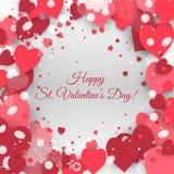 Ημέρα του ευτυχούς βαλεντίνου του ST! Αφηρημένο υπόβαθρο με την κορδέλλα και πετώντας snowflakes και καρδιές στην ημέρα του βαλεν Στοκ εικόνα με δικαίωμα ελεύθερης χρήσης