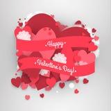 Ημέρα του ευτυχούς βαλεντίνου του ST! Αφηρημένο υπόβαθρο με την κορδέλλα και πετώντας snowflakes και καρδιές στην ημέρα του βαλεν Στοκ φωτογραφίες με δικαίωμα ελεύθερης χρήσης