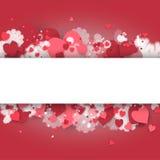 Ημέρα του ευτυχούς βαλεντίνου του ST! Αφηρημένο υπόβαθρο με την κορδέλλα και πετώντας snowflakes και καρδιές στην ημέρα του βαλεν Στοκ Φωτογραφία