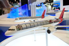 ST Aerospace showcasing their A330 passenger-to-freigh ter conversion model at Singapore Airshow 2012 Stock Photography