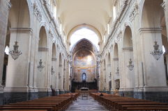 St. Agatha Cathedral In Catania, Italy. Central nave of St. Agatha Cathedral in Catania, Italy Royalty Free Stock Photo