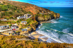 St Agnes Cornwall England United Kingdom between Newquay and St Ives in colourful HDR Royalty Free Stock Images