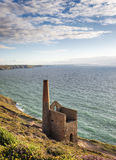 St Agnes in Cornwall. Wheal Coates tine mine engine house on the cliffs at St Agnes in Cornwall Royalty Free Stock Photos