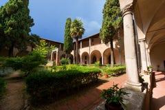 St. Agostino Cloister - San Gimignano Italy Stock Photo