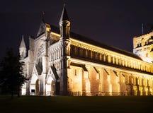 St Albans abbey church illumination England UK. Popular tourist St Albans abbey church in night lights illumination in London, England, United Kingdom stock image