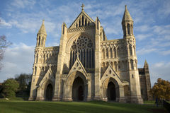 St Albans cathedral in early evening sunlight Royalty Free Stock Photo