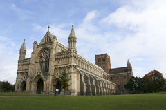St albans cathedral hertfordshire england. The cathedral and abbey of the church of st albans dating from norman times in hertfordshire england stock photo