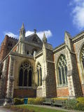 St Albans Cathedral in Hertfordshire, England. The Cathedral at St Albans, in Hertfordshire, dating back to Normal times stock photo