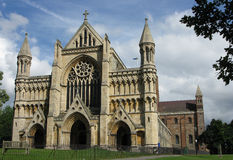 St Albans Cathedral, Hertfordshire. Front view of St Alban's Cathedral in Hertfordshire, England Stock Images
