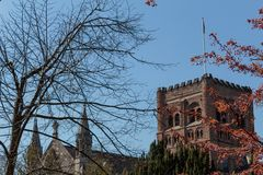 St Albans Cathedral tower. stock photography