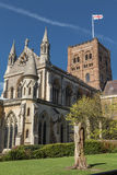 St Albans Cathedral in the UK. St Albans Cathedral viewed from the Vintry Garden on a sunny Spring day Stock Image