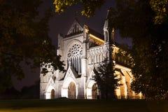 St Albans opactwa kościelna iluminacja Anglia UK obraz stock
