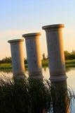 St. Albert, Alberta, Canada - June 25, 2017: Existing bridge pillars allowing for the future twinning of Ray Gibbon Drive.  Royalty Free Stock Photo