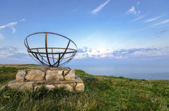 St Aldhelm's Head on Dorset's Jurassic Coastline. Radar memorial an St Aldhelm's Head on Dorset's Jurassic Coastline Royalty Free Stock Images