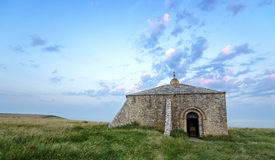 St Aldhem's Chapel. Ruins of St Aldhelm's Chapel, around 800 years old and situated on St Aldhelm's Head on Dorset's Jurassic coast near Worth Matravers and Royalty Free Stock Images