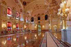 St. Alexander hall. Russia, Moscow, Grand Kremlin Palace - historical old building built from 1837 to 1849, at the present time the ceremonial residence of the royalty free stock photo