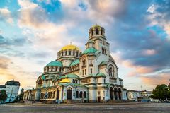 St. Alexander Nevski Cathedral in Sofia, Bulgaria. St. Alexander Nevsky Cathedral in the center of Sofia, capital of Bulgaria against the blue morning sky with Stock Image