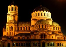 The St. Alexander Nevsky Cathedral is a Bulgarian Orthodox cathedral in Sofia, the capital of Bulgaria royalty free stock photo