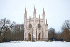 The St. Alexander Nevsky church in the Alexandria park of a gloomy February day. Peterhof Stock Images