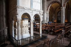 St. Ambrose Basilica, Milan. Milan, Italy - 2017, April 9 : The interior of the famous romanesque basilica of St. Ambrose or Sant`Ambrogio in Milan in Lombardy Royalty Free Stock Photo