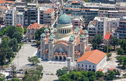 St Andrew Cathedral in Patra, luchtmening Stock Fotografie