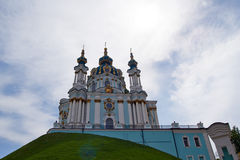 St. Andrew Church in Kiev, Ukraine. Against cloudscape Stock Image
