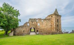 Main facade of Saint Andrew`s Castle, Fife, Scotland. stock photos