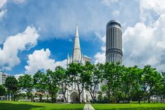 St Andrew`s Cathedral in Singapore royalty free stock photography