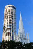 St Andrew's Cathedral steeple and tower, Singapore Stock Images