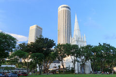 St Andrew's Cathedral steeple and tower, Singapore Royalty Free Stock Photo