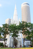 St Andrew's Cathedral steeple and tower, Singapore Royalty Free Stock Photos