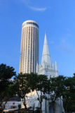 St Andrew's Cathedral steeple and tower, Singapore Royalty Free Stock Photography