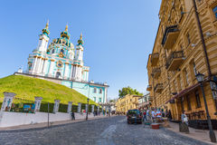 St Andrew`s Church from Andriyivskyy Descent Stock Images