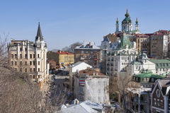 St Andrew's Church and Andriyivskyy Descent in Kiev, Ukraine Stock Photo