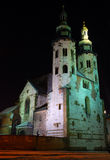St. Andrew's Church on Grodzka Street by night - K Royalty Free Stock Photos