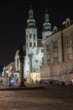 St. Andrew's Church on Grodzka Street by night Royalty Free Stock Images