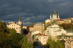 St. Andrew`s Church, Kiev. St. Andrew`s Church and tower of the king Richard Kiev, Ukraine royalty free stock image